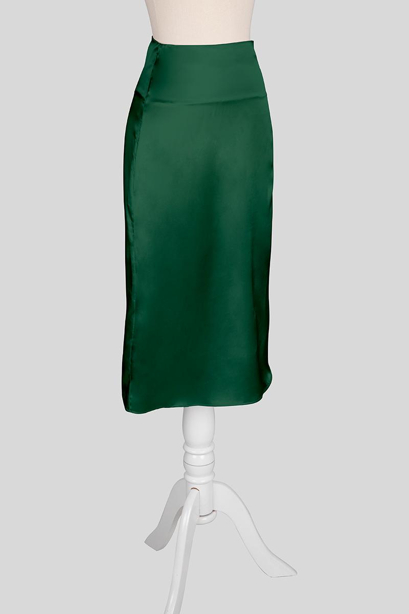 forest-green-silk-skirt