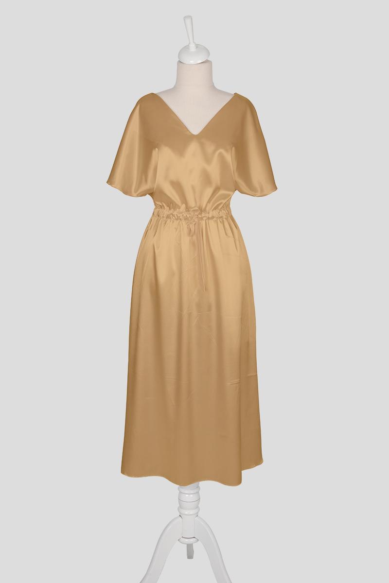 short sleeve beige dress