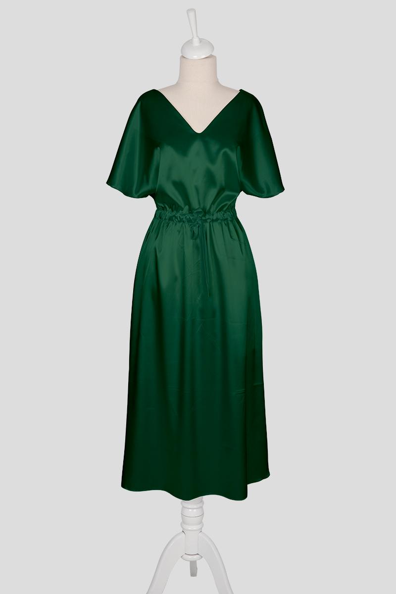 short sleeve green dress