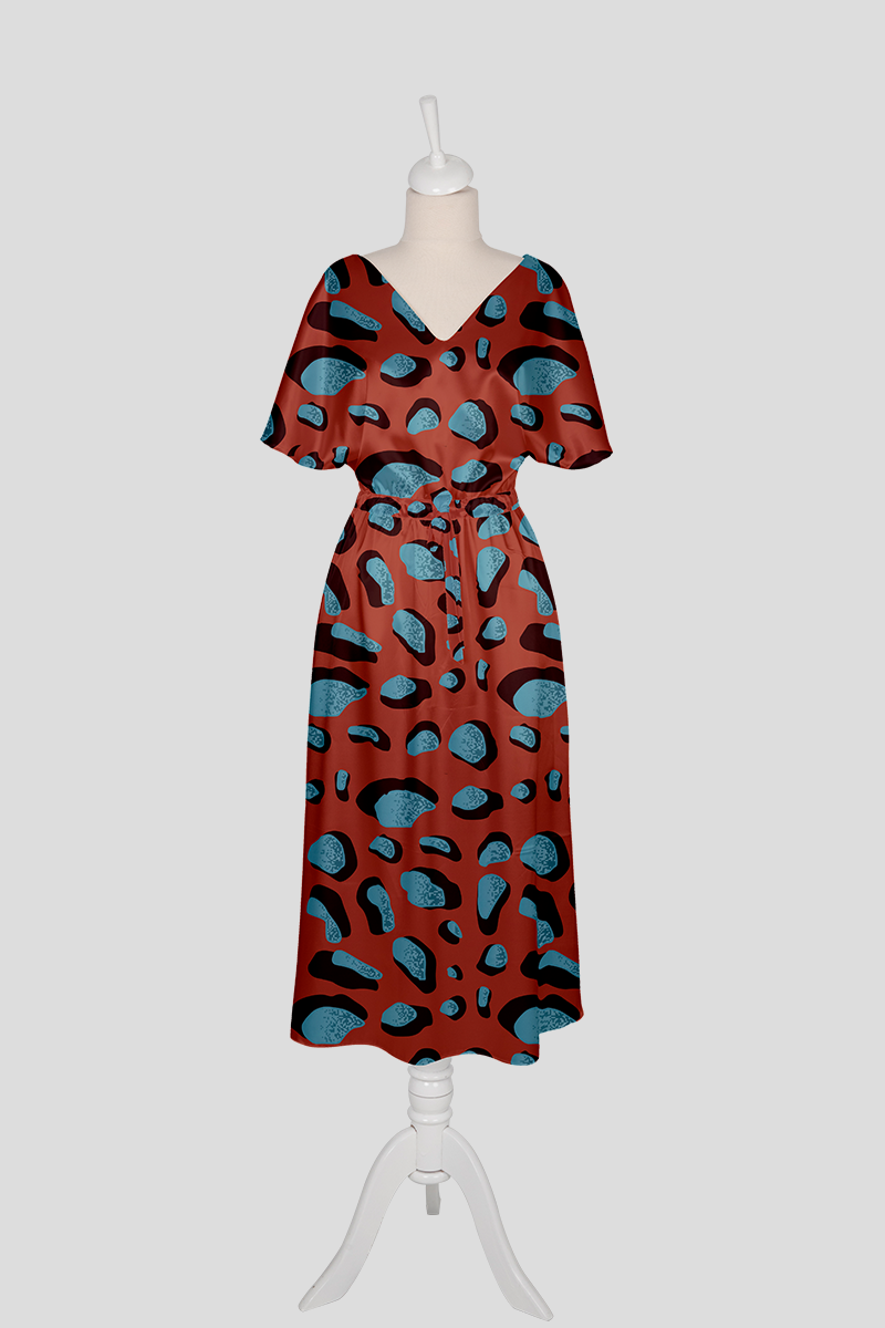 abstract print red rust dress