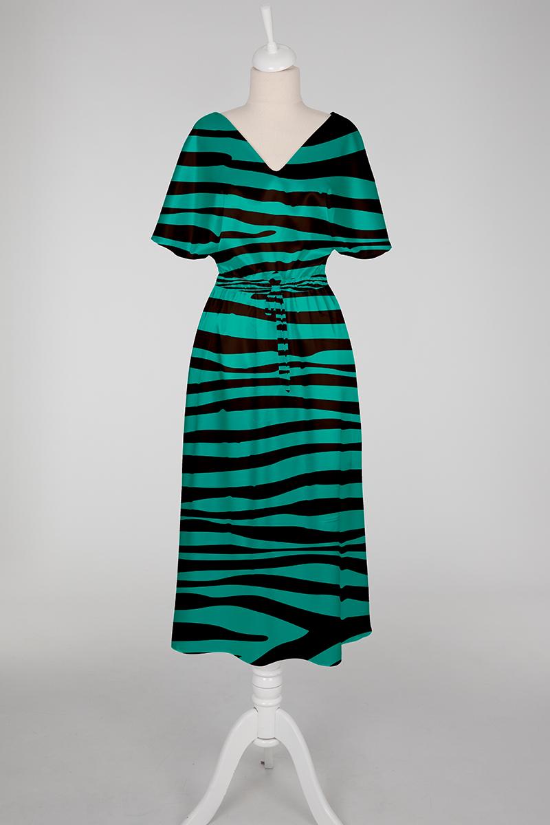 green and black slip dress